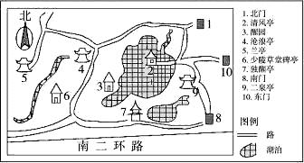 华夏名亭园游览示意图